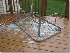 Armstrong's shattered patio table